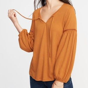 Old Navy Mustard Yellow Peasant Long Sleeve Eyelet